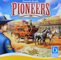 Recto de la boite de PIONEERS (Queen Games)